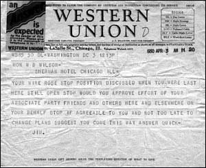 Western Union Message to W.B. Wilson