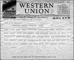 Western Union Message to W.B. Wilson