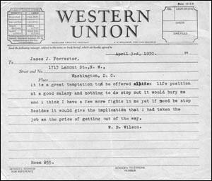 Western Union Reply from W.B. Wilson